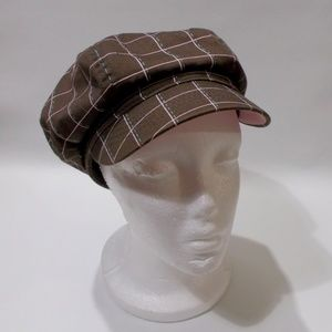 Harley Davidson Brown Plaid Newsboy Cap Brass Logo